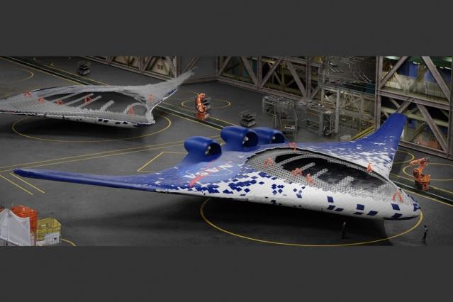 全翼機が組み立てられていく様子(Eli Gershenfeld氏, NASA Ames Research Centerより)
