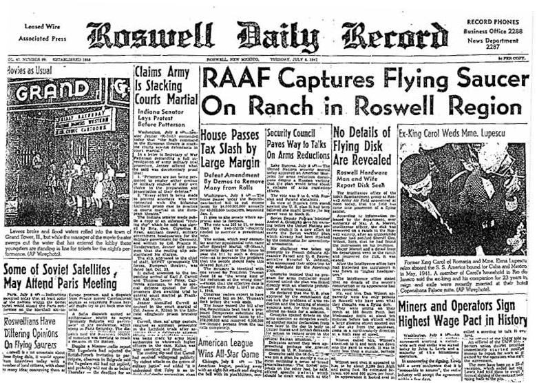 ロズウェル事件を報じた地元紙