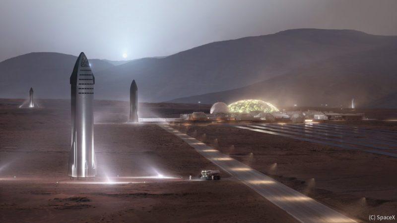 火星に着陸したスターシップのイメージ(SpaceXより)